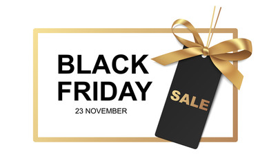 Black friday Sale banner design. Vector illustration. Golden frame with price tag and gold bow on white background