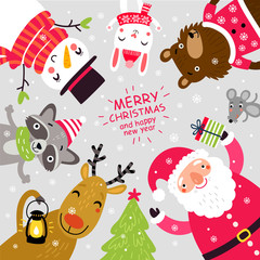 Santa and animals. Christmas card