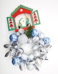 Merry Christmas ornaments in white background