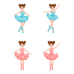 Vector set with cute little ballerinas in pink and blue dresses, bows and ballet shoes. Vector illustration.
