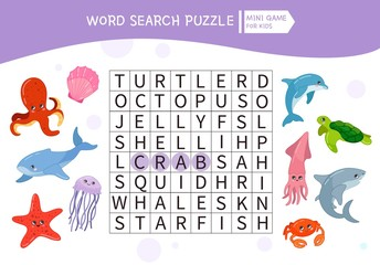 Educational game for kids. Word search puzzle with cartoon sea animals. Kids activity sheet,