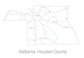 Detailed map of Houston county in Alabama, USA