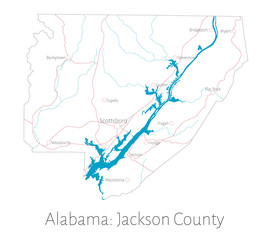Detailed map of Jackson county in Alabama, USA