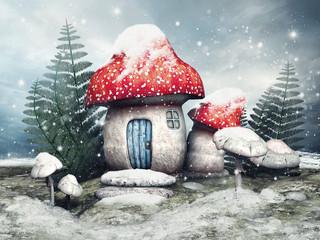 Baśniowa chatka z grzyba w zimowej scenerii - fototapety na wymiar
