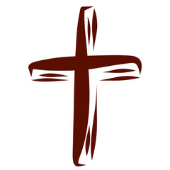 Christian cross drawn in brown smooth lines