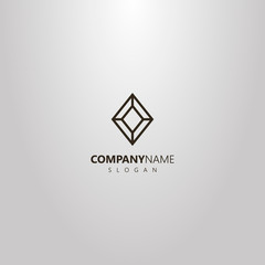 black and white simple vector geometric line art logo of diamond shape gemstone
