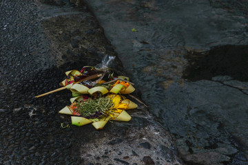 Offering to Hindu Gods in Bali island which called Canang and made from leaves and flowers
