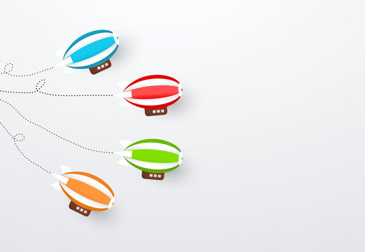 colorful zeppelins , Business competition, start-up, boost or success concept.
