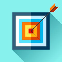 Volume squre Target icon in flat style on color background. Arrow in the center aim. Vector design element for you business projects