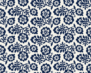 Seamless woodblock printed indigo dye floral pattern. Vector ethnic ornament, traditional Russian motif with blossoms, navy blue on ecru background. Textile print. - 230984334