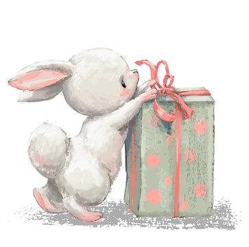 cute birthday cartoon hare with present box