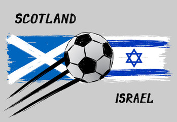 Flags of Scotland and Israel - Icon for football Nations League - Grunge