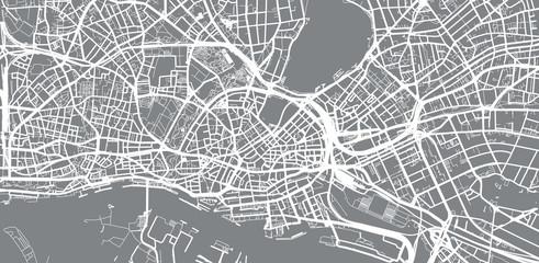 Urban vector city map of Hamburg, Germany