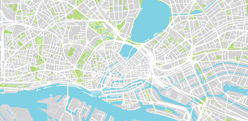 Urban vector city map of Hamburg, Germany