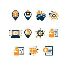 Hospital Sensory network icons set
