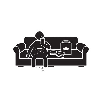 Couch potato icon. Obese person sitting on couch eating and watching tv icon. Vector.
