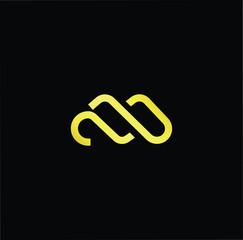 Initial letter M MM minimalist art logo, gold color on black background.