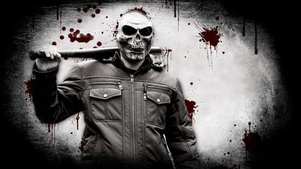 Bloody maniac in a mask with a baseball bat
