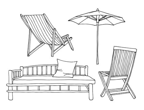 Beach chairs with umbrella vector set, hand drawn travel collection