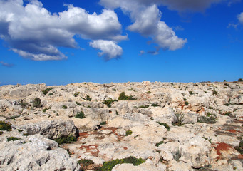 rugged rocky arid limestone pavement terrain with vegetation in the cracks and blue sunlit sky with white clouds