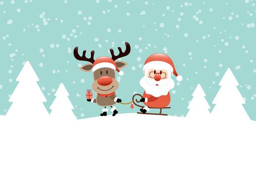 Card Rudolph Gift Pulling Sleigh Santa Snow/Forest Retro