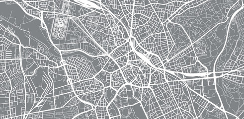Urban vector city map of Hanover, Germany