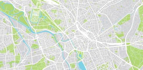 Urban vector city map of Hanover, Germany