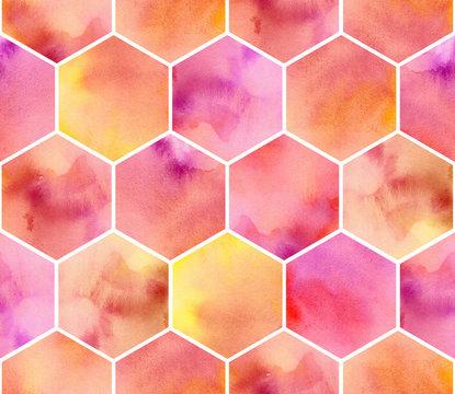 watercolor pink, orange and yellow hexagon. seamless pattern