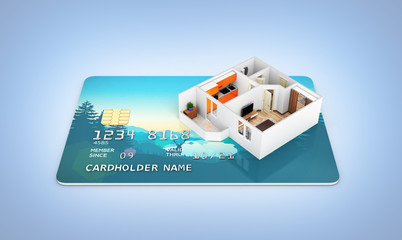 Concept of purchase or payment for housing illustration of Apartment layout located on a credit card 3d render on blue gradient background