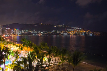 Acapulco beach at night