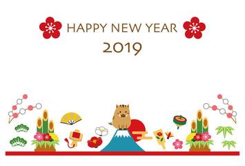 2019年 亥年 年賀状 テンプレート