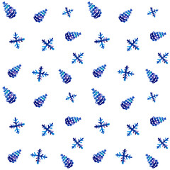Seamless pattern with cones and snowflakes. Watercolor illustration