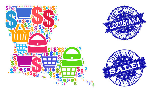 Best shopping combination of mosaic map of Louisiana State and unclean seals. Vector blue seals with unclean rubber texture for sales. Flat design for shopping templates.