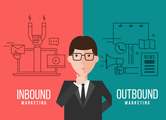 Businessmen are deciding between Inbound marketing and outbound marketing banner vector design