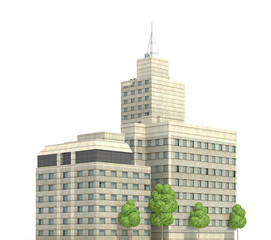 Modern buildings isolated on white background 3d illustration