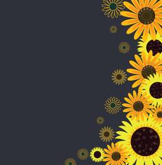 Sunflower pattern background - Vector illustration