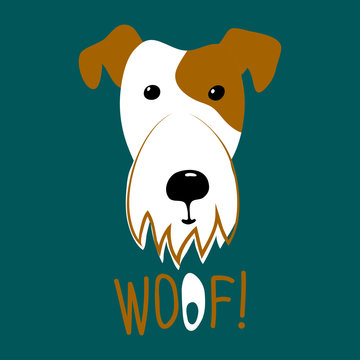 vector dog white fox terrier word woof on dark background childish design for textile paper kids things