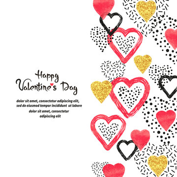 Valentine's Day vector background with abstract red hearts and place for text.