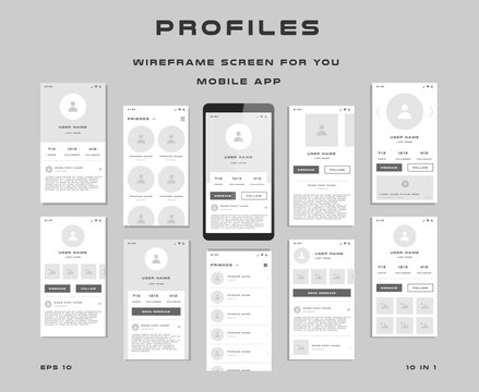 10 in 1 UI kits. Wireframes screens for your mobile app. GUI template on the topic of Profiles . Development interface with UX design. Vector illustration. Eps 10