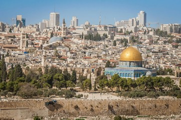 JERUSALEM, ISRAEL. October 30, 2018. A view of the Temple Mount with a Dome of the Rock in the center. It is an Islamic shrine located in the Old City of Jerusalem. Al Aqsa mosque, Muslim holy place.