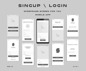 10 in 1 UI kits. Wireframes screens for your mobile app. GUI template on the topic of singup login . Development interface with UX design. Vector illustration. Eps 10