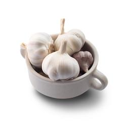 Garlic in a Mug Isolated on White Background