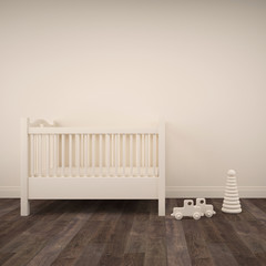 Baby bedroom with white crib and toys on parquet floor. 3d architecture visualization