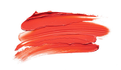 Smear and texture of red lipstick or acrylic paint isolated on white Wall mural