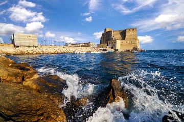 Castle dell ovo or castel dellovo famous historical landmark in Naple Italy Campania