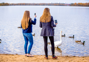 Girls take pictures of swans on a country lake