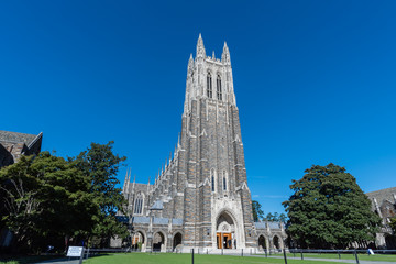 Front view of the Duke Chapel tower in early fall, Durham, North Carolina Wall mural
