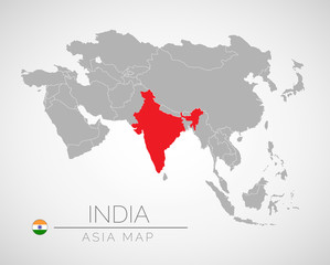 Map of Asia with the identication of India. Map of India. Political map of Asia in gray color. Asia countries. Vector stock.