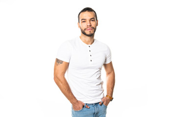 portrait of handsome mexican young man, isolated on white background.