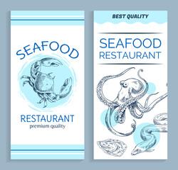 Vector Best Quality Seafood Restaurant Banner Set